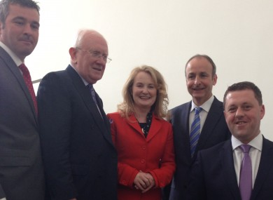 Micheál Martin flanked by most of Fianna Fáil's European election candidates today