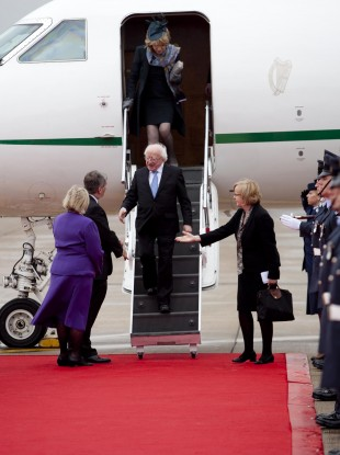 Michael D Higgins arrives at Heathrow Airport yesterday evening.