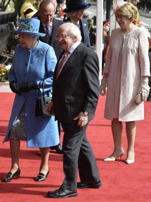 Michael D Higgins, his wife Sabina and Queen Elizabeth in Windsor yesterday.