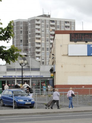 File picture of the front of Ballymun Shopping Centre in front of Plunkett Tower