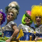 Revelers pose for photos during the annual Gay Pride Parade in Sao Paulo, Brazil.<span class=