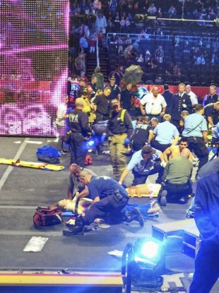 Emergency services attend the scene at the Rhode Island circus.
