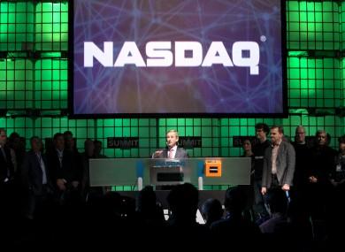 Enda Kenny rings the NASDAQ opening bell at the Dublin Web Summit last year.