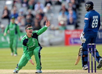 Ireland's George Dockrell appeals unsuccessfully for a LBW.