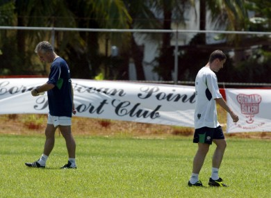 Mick McCarthy and Roy Keane at training circa 2002 just before the withdrawal of the latter from Ireland's World Cup squad .