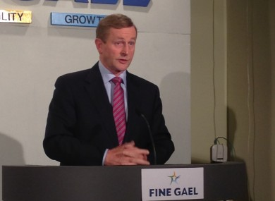 Enda Kenny at a press conference in Dublin today