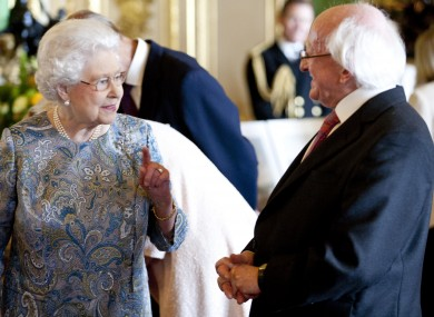 President Michael D Higgins with Queen Elizabeth II during the President's State Visit to the United Kingdom.