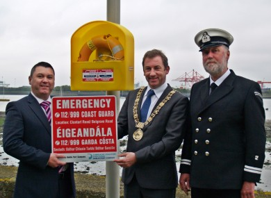 Left to right: Pat Ward, Dublin Port Company's Head of Corporate Services, Lord Mayor of Dublin, Oisín Quinn. Paul Cooper, Deputy Officer in Charge, Irish Coast Guard - Howth Station.