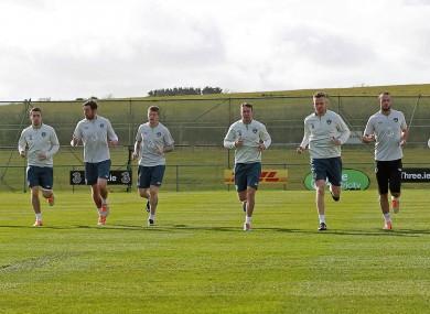The Ireland squad training at Gannon Park.