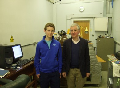 Tom with Dr Patrick McCarthy at the Department of Physics at UCC