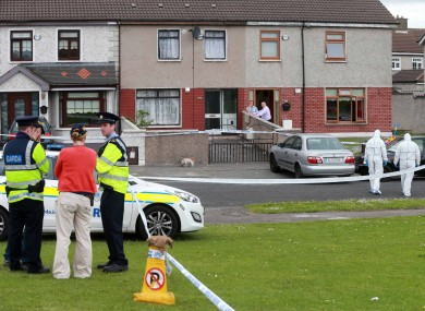 Gardai and forensics at the scene of a shooting on Croftwood Grove in Ballyfermot on Saturday.