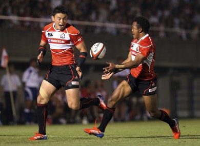 Japan's Kotaro Matsushima [right] and Ayumu Goromaru in action for the Brave Blossoms.