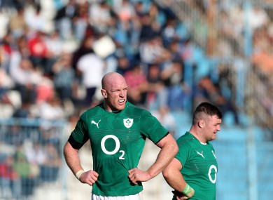 Paul O'Connell and Dave Kilcoyne (r).