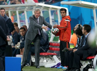 Hodgson attempts to get the ball back in play in São Paulo.