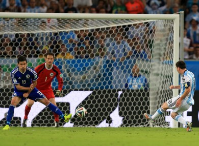 Messi scores his second ever goal in the World Cup.
