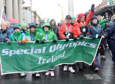 Representatives of Special Olympics Ireland participate in the 'Peoples Parade' ahead of the main St Patrick's Day Parade in Dublin.
