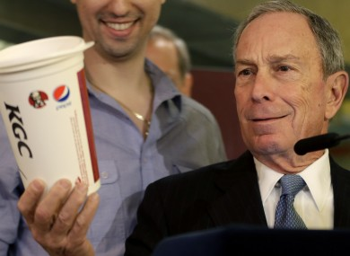 Former NYC mayor Michael Bloomberg with a fizzy drink.