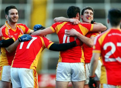 Castlebar players celebrate at the end of their semi final win over Dr Crokes in February.