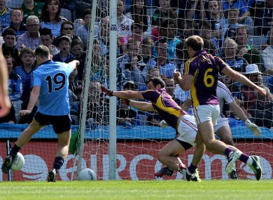 Cormac Costello scores Dublin's first goal in the Leinster semi-final against Wexford.