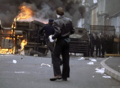 File photo dated 1 August 1979 of violence in the Bogside area of Derry.