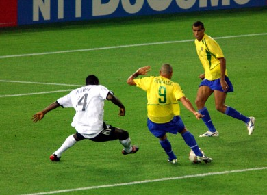 Ronaldo scored a brace in the 2002 final, becoming the all-time top World Cup goalscorer in the process.