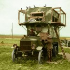 A mobile pigeon loft, enabling messages to be sent from the Front Line back to headquarters. 100,000 carrier pigeons were used as messengers throughout the First World War, and records show they delivered 95% of their messages correctly.<span class=