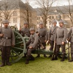 German Field Artillery Regiment crew, with a 7.7 cm Feldkanone 96 field gun, 1914.<span class=