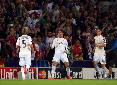 Cristiano Ronaldo celebrates his second goal during Tuesday's Super Cup final.
