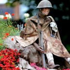 A floral tribute marking the 100th Anniversary of the First World War is on display in Woolton Village, Liverpool.<span class=