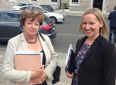 Catherine Murphy and Lucinda Creighton outside Leinster House this afternoon