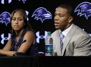 Ray and Janay Rice at a press conference after his initial suspension.