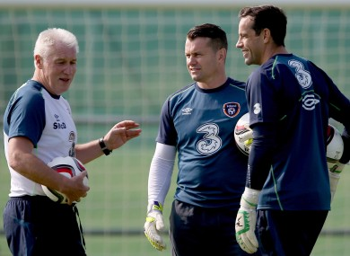 Goalkeeping coach Seamus McDonagh with (left) Given and Forde (right).