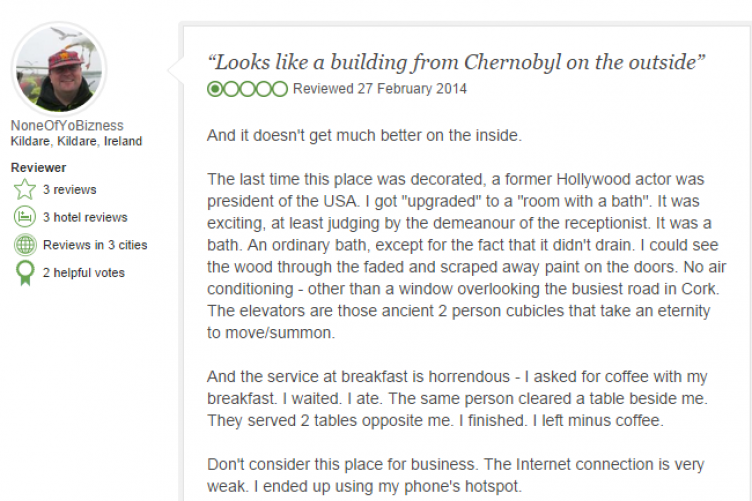 Cork Hotel Receives Painful Tripadvisor Review Manager S Response