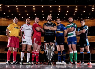 The captains of the Pro12 sides involved in EPCR competitions this year at this afternoon's launch in Dublin.
