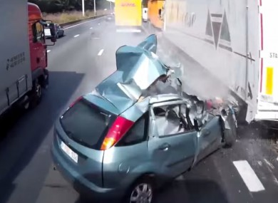 watch belgian driver survives totally unsurvivable crash with two trucks. Black Bedroom Furniture Sets. Home Design Ideas