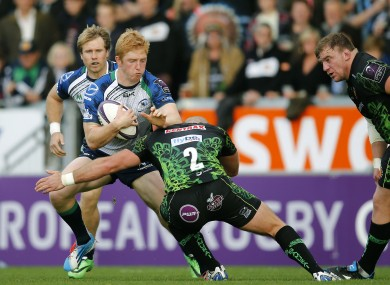 Darragh Leader looks to make yards for Connacht at Sandy Park.