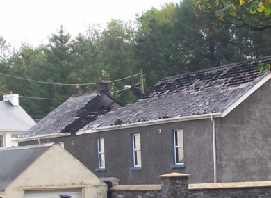The exterior of the burned out Orange Order hall at Convoy, Co Donegal