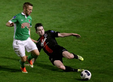 Cork City host Bohemians and must win to keep up the pressure on Dundalk. Liam Kearney  (left) and Karl Moore when the sides met earlier in the season.