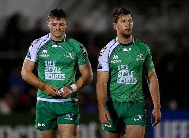 Robbie Henshaw and Danie Poolman show their disappointment at the final whistle.