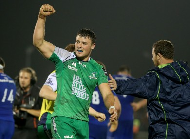 Outside centre Robbie Henshaw celebrates the win over Leinster earlier this season.
