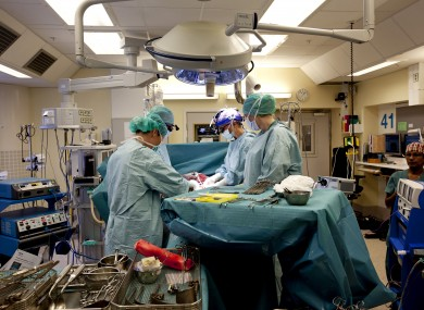 The Swedis team performing the womb transplant.