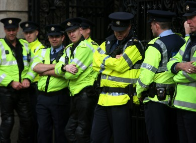 Members of the Garda gathered outside Leinster House as the Dáil resumed in September.