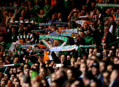 Ireland fans in full voice at Celtic Park.