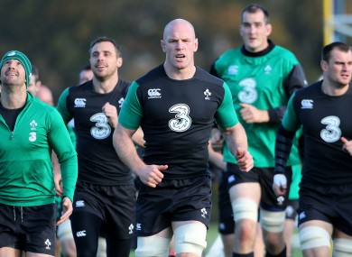 Paul O'Connell leads his side around the Carton House training pitch.