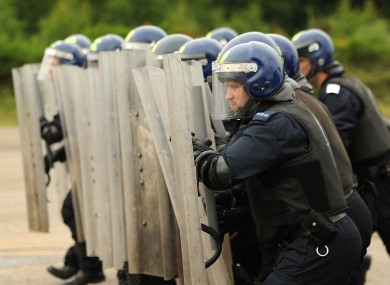 File photo of members of the PSNI undergoing riot training.