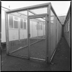 Exercise cage for prisoners.<span class=