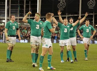 The Irish rugby team celebrate beating Australia.