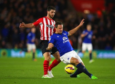 Southampton striker Shane Long and Everton defender Phil Jagielka