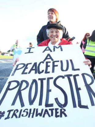 A water protester in Jobstown, Tallaght last month.