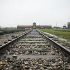 Auschwitz camp entrance.<span class=